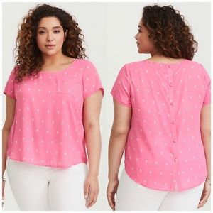 Torrid ABBEY PALM TREE GEORGETTE BUTTON BACK TOP